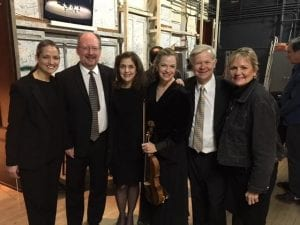 Back stage with the Detroit Symphony Orchestra (DSO) at Orchestra Hall with Associate Conductor Michelle Merrill, pianist Robert Conway, retired violinist/filmmaker Ann Strubler, violist Caroline Coade, French hornist Mark Abbott, and Katana after the debut of the documentary and original orchestra composition, The Tapestry.
