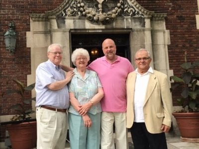 Pictured above L to R are philanthropists, Dick and Gwen Bowlby and Mike Fisher, along with retired Detroit Symphony Orchestra musician/author, Paul Ganson, for the book launch party at the historic Fisher Mansion.